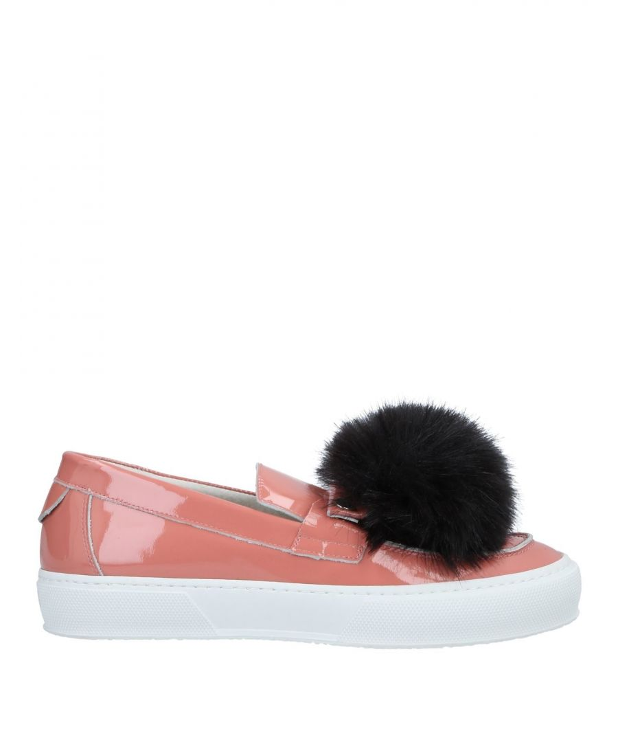 Image for L'F Shoes Pastel Pink Leather And Faux Fur Slip Ons