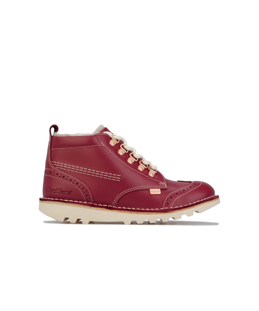 Image for Girl's Kickers Children Kick Fur Hiker Boots in Red