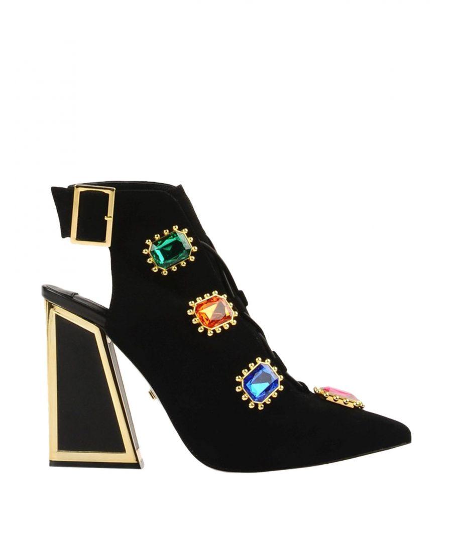 Image for Kat Maconie Black Leather Embellished Heels