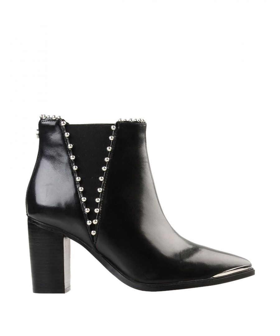 Image for Steve Madden Black Leather Studded Ankle Boots