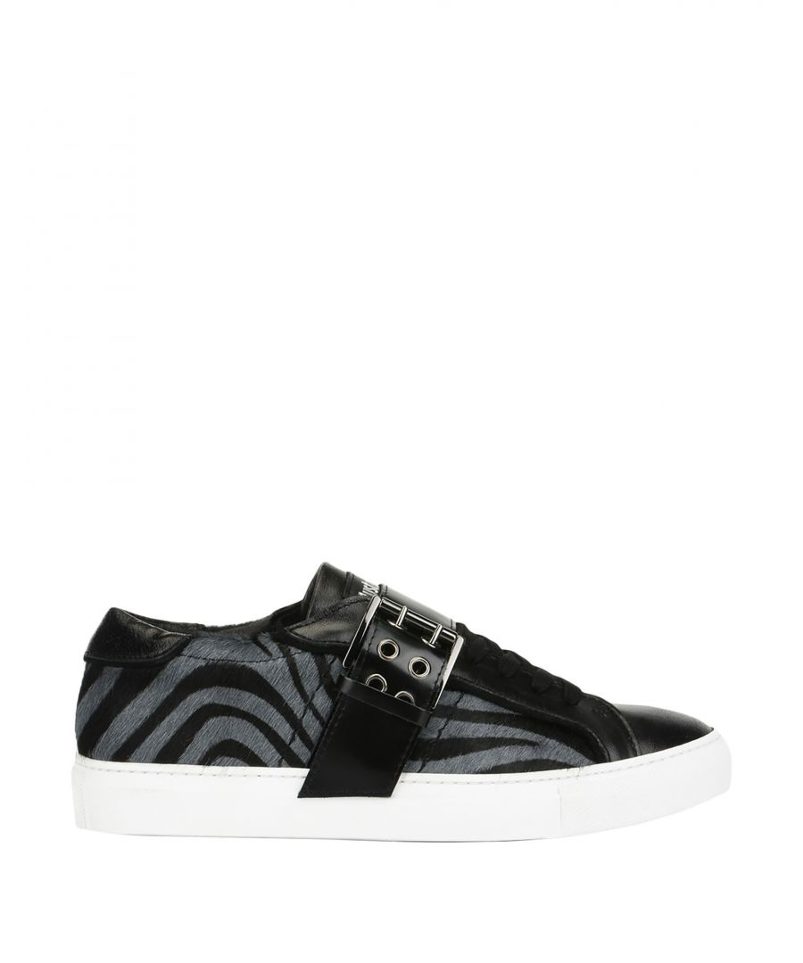 Image for Just Cavalli Black Leather Zebra Stripe Sneakers
