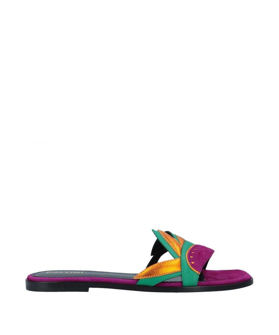 Image for Pollini Purple Leather Sliders