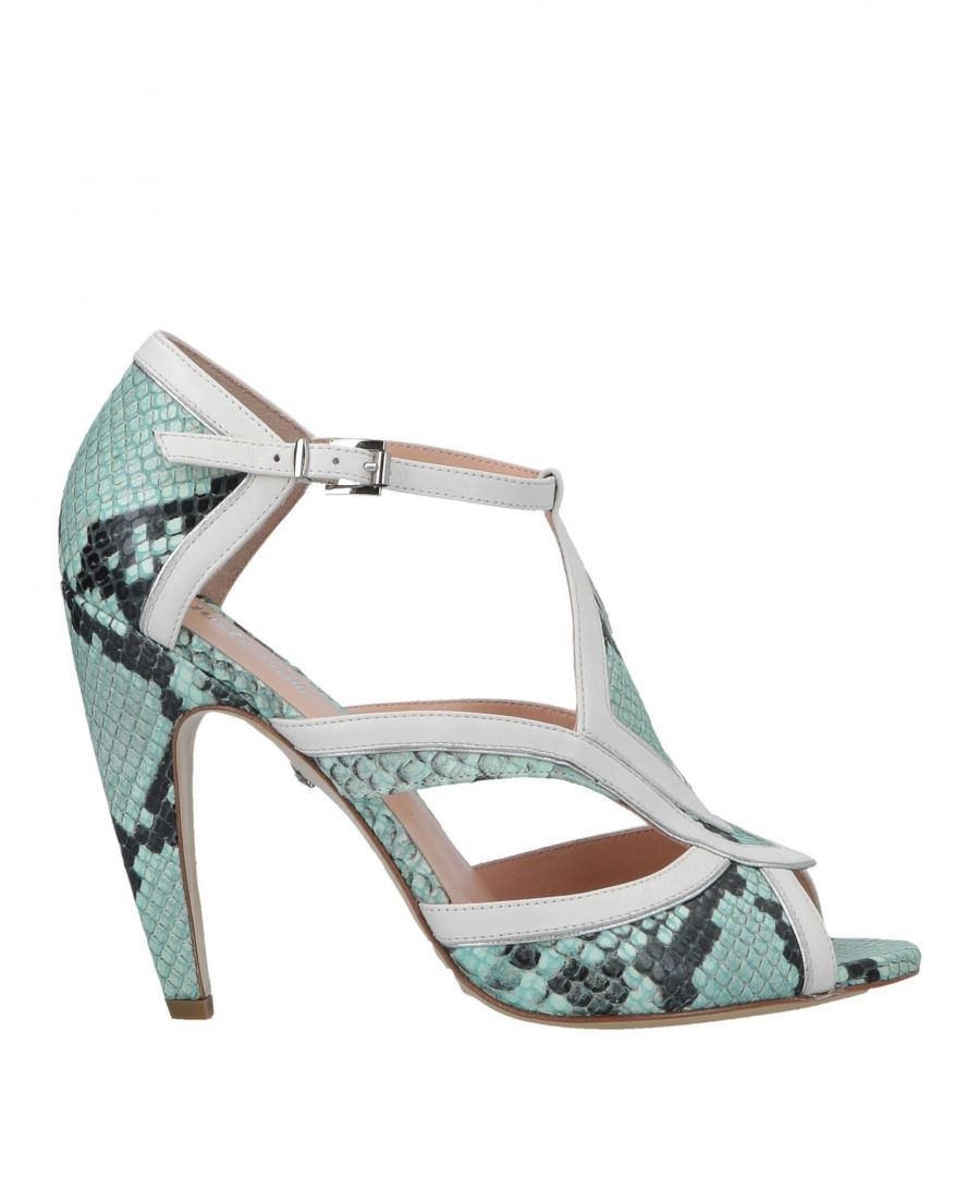 Image for Just Cavalli Green Snakeskin Print Leather Peeptoe Heels