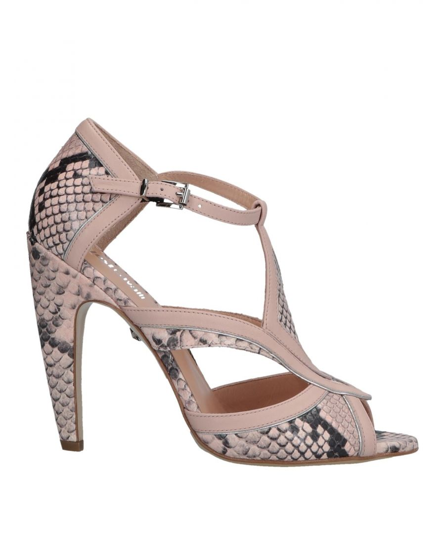 Image for Just Cavalli Light Pink Leather Snakeskin Print Heels