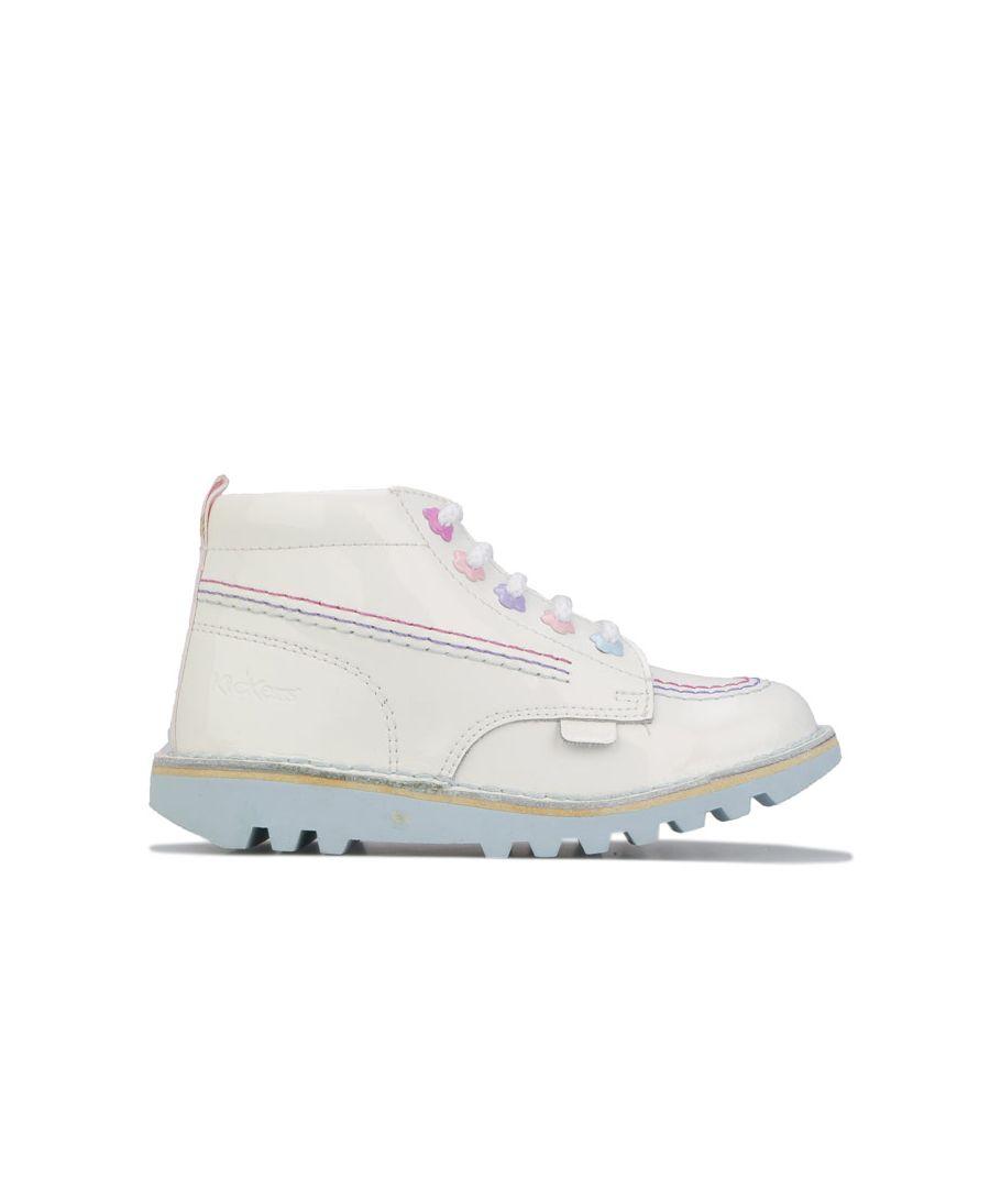 Image for Girl's Kickers Children Kick Hi Fleur Pat Boots in White