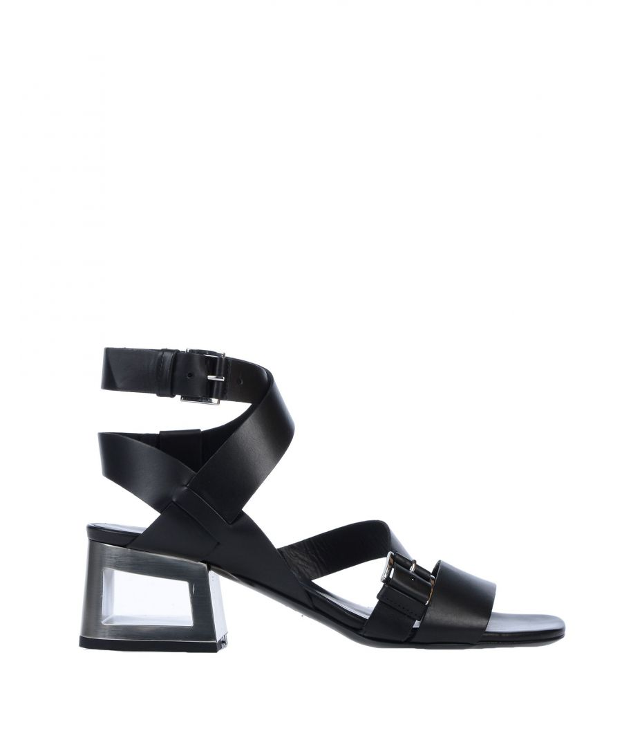 Image for Vic Matie Black Leather Cut Out Heels