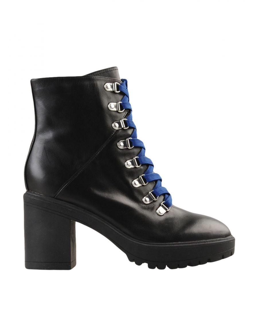 Image for Steve Madden Black Leather Lace Up Boots