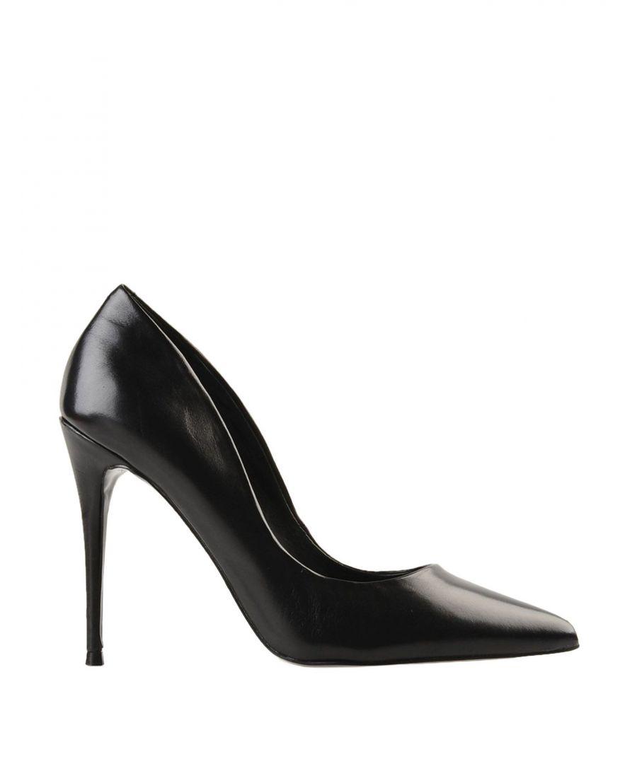 Image for Steve Madden Black Leather Court Shoe Heels