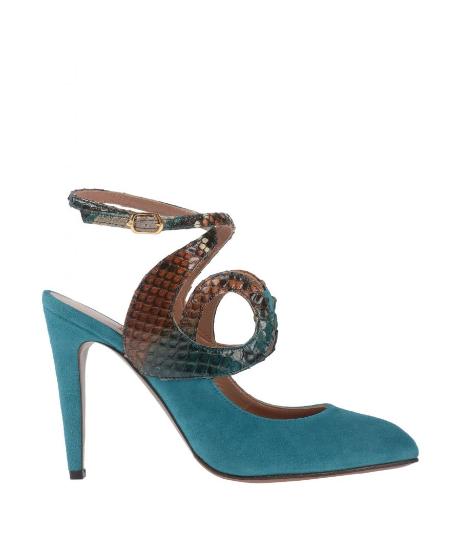 Image for L' Autre Chose Turquoise Leather And Snakeskin Print Slingback Heels