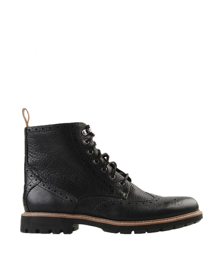 Image for Clarks Black Textured Leather Lace Up Boots