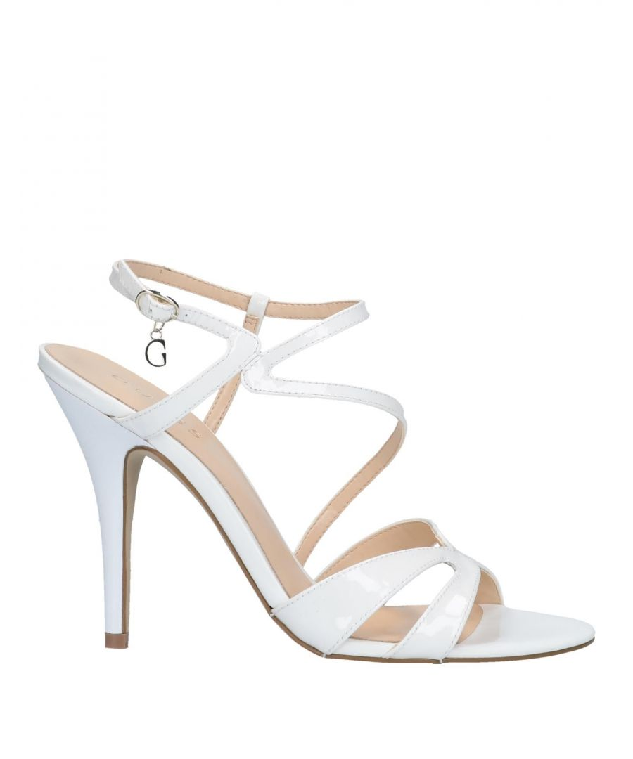 Image for Guess White Leather Heeled Sandals