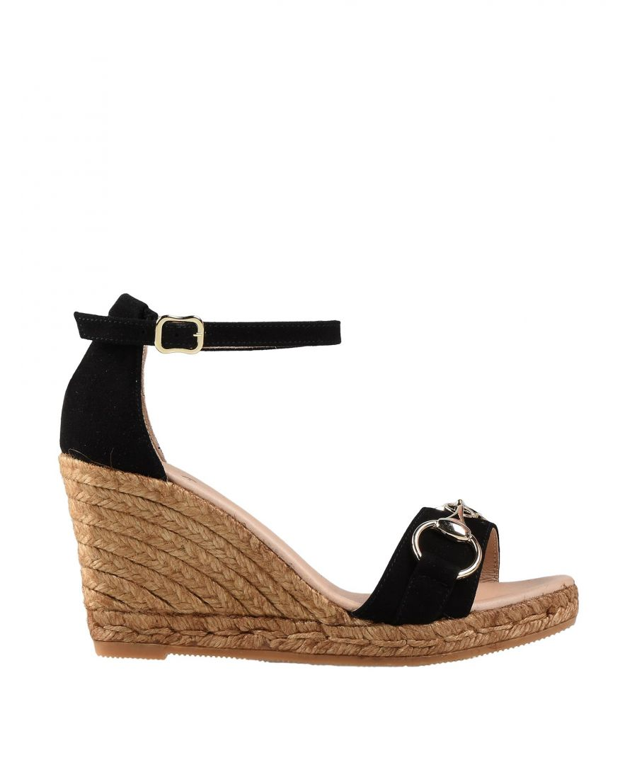 Image for Gaimo Black Leather Espadrille Wedges