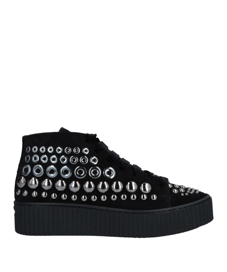Image for Pinko Black Leather Studded Sneakers