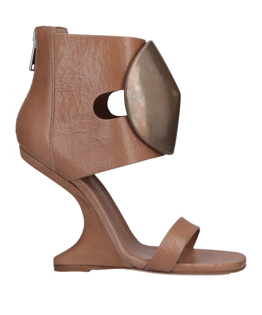 Image for Rick Owens Camel Leather Wedge Sandals