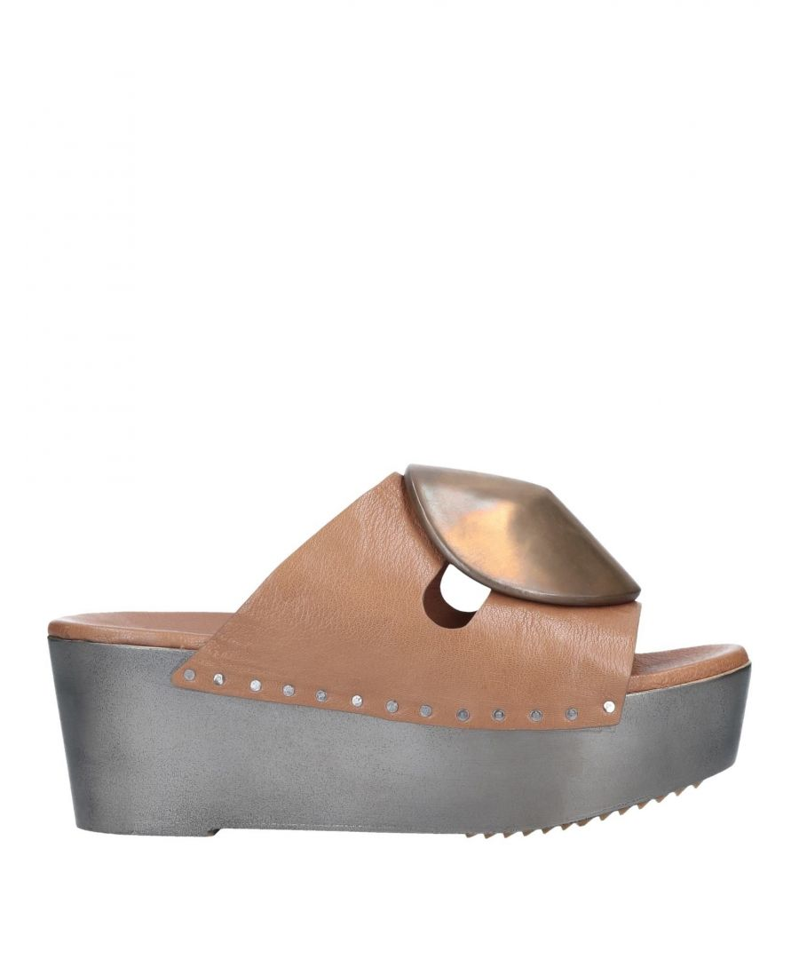 Image for Rick Owens Brown Leather Flatform Sandals