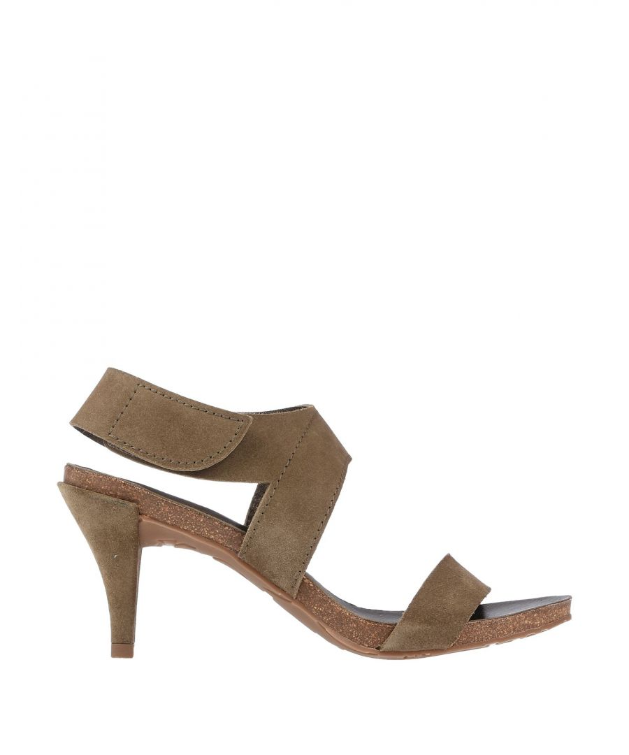 Image for Pedro Garcia Military Green Leather Heeled Sandals