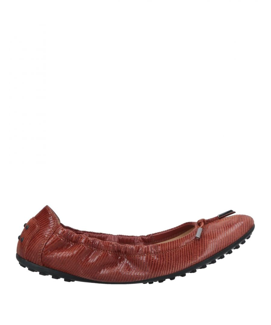 Image for Tod's Brick Red Leather Ballet Flats