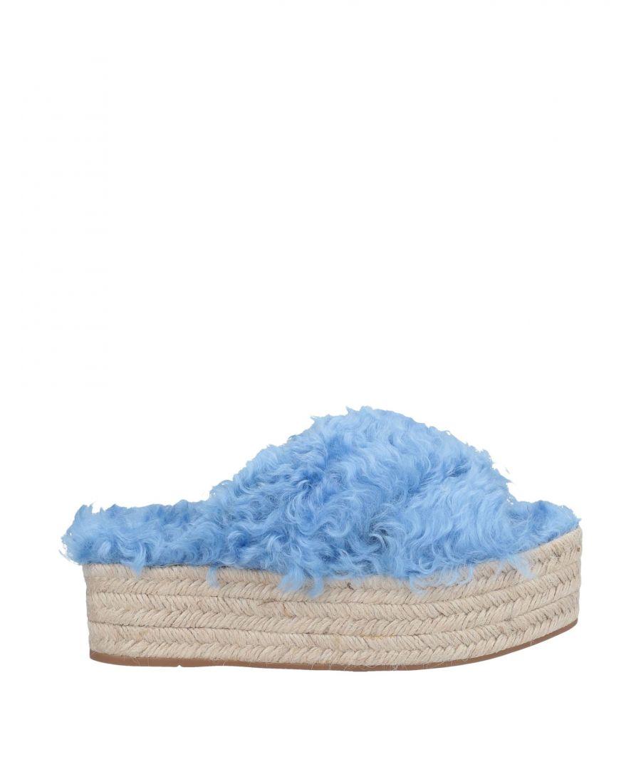Image for Miu Miu Azure Faux Fur Flatform Espadrille Sliders