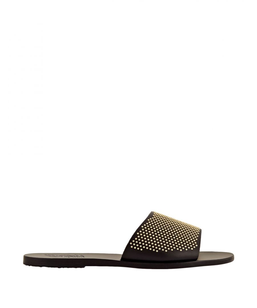 Image for Ancient Greek Sandals Black Leather Sliders