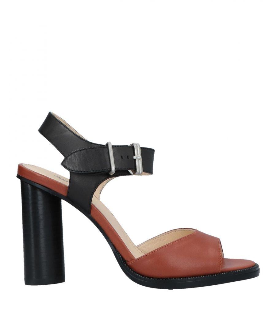 Image for Jil Sander Navy Brown Leather Heeled Sandals