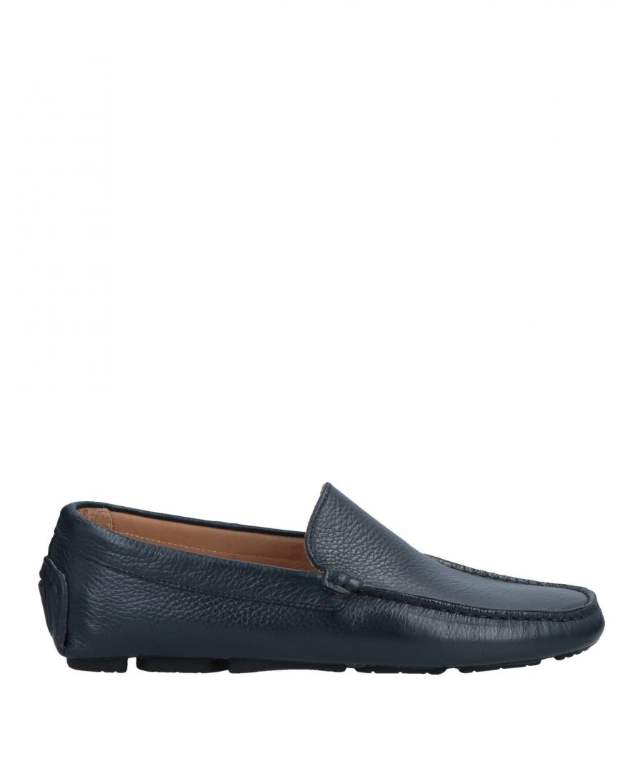 Image for Doucal's Dark Blue Textured Leather Loafers