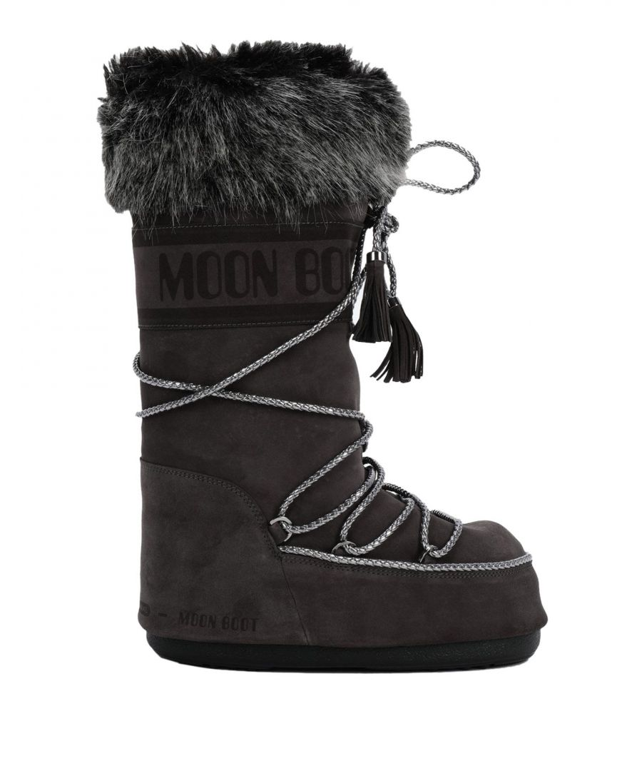 Image for Moon Boot Steel Grey Leather Boots With Faux Fur Trim