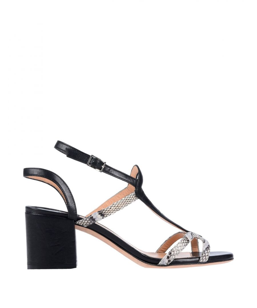 Image for Racine Carree Black Leather Heeled Sandals