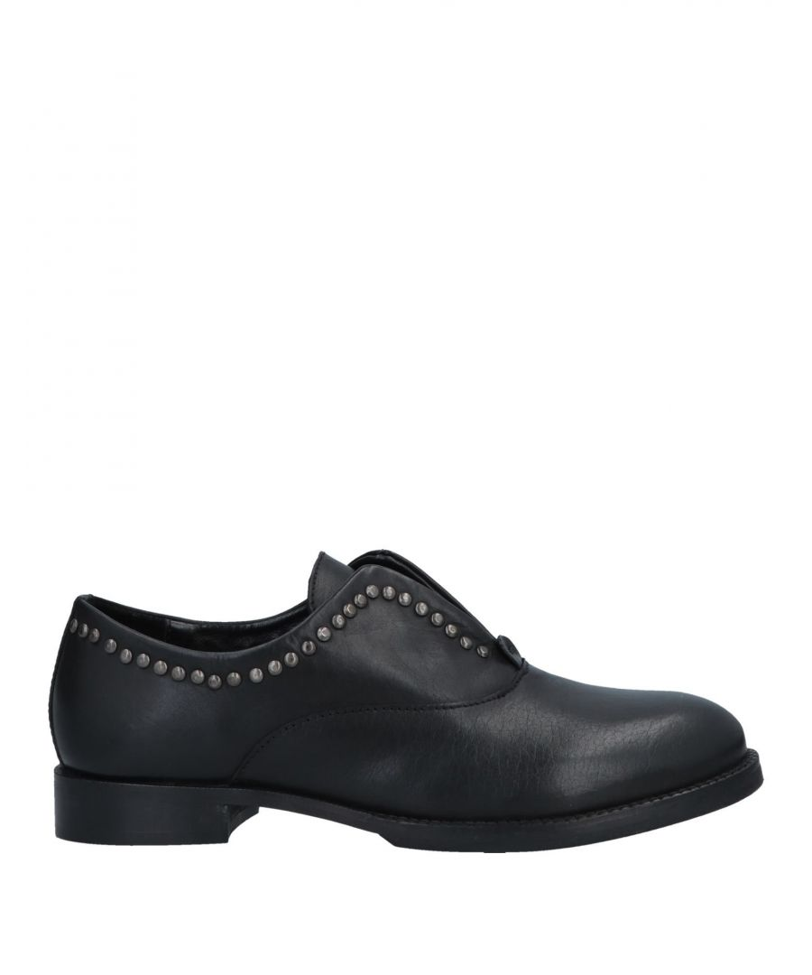Image for Cafenoir Black Leather Studded Flat Shoes