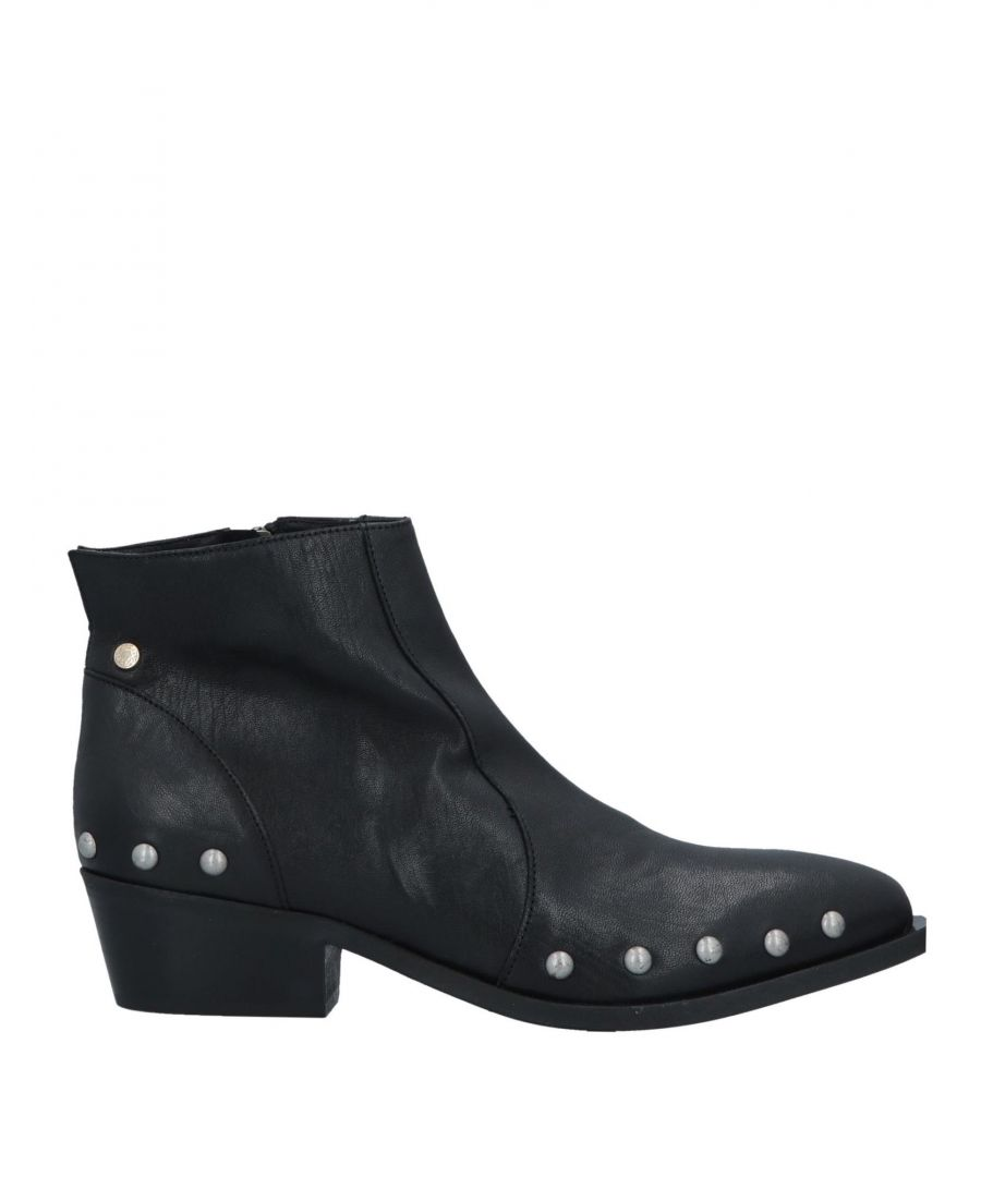 Image for Manila Grace Black Studded Leather Ankle Boots