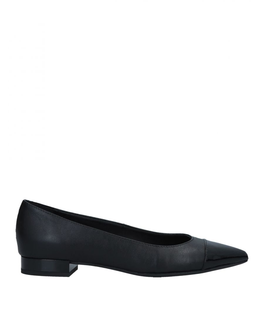 Image for Geox Black Leather Pointed Ballet Flats