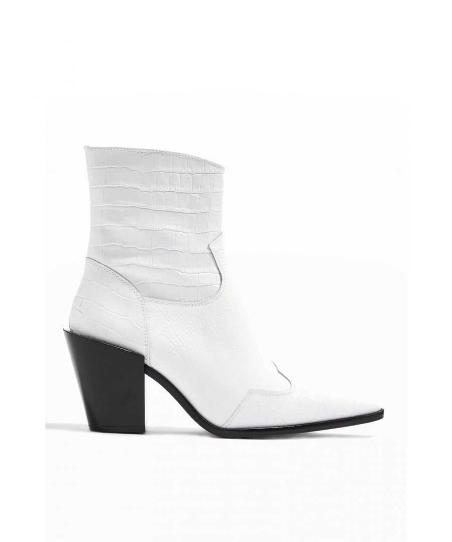 Image for Topshop White Leather Crocodile Print Ankle Boots