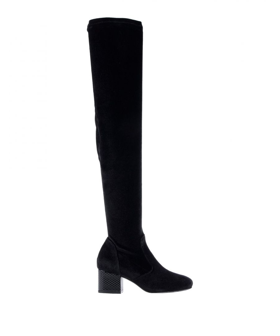 Image for Pollini Black Chenille Over The Knee Boots