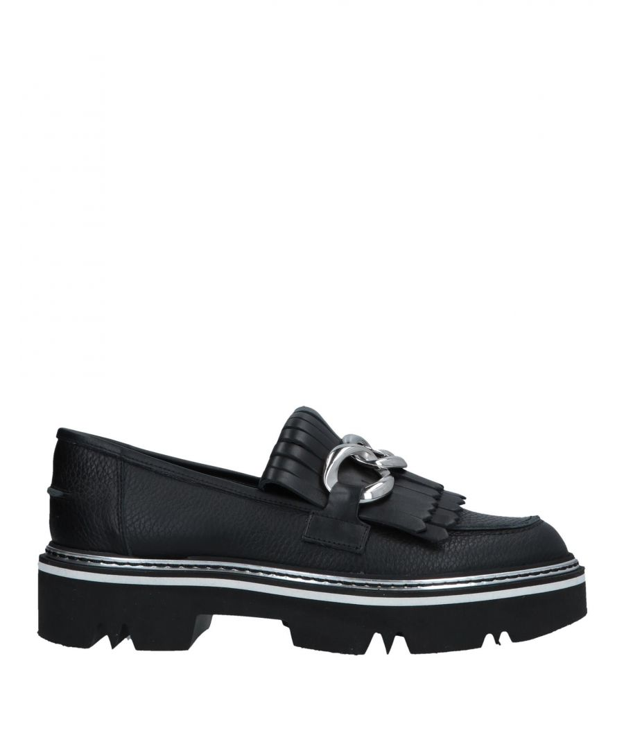 Image for Pollini Black Calf Leather Loafers
