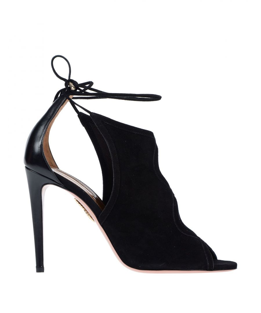 Image for Aquazzura Black Suede Peeptoe Heels