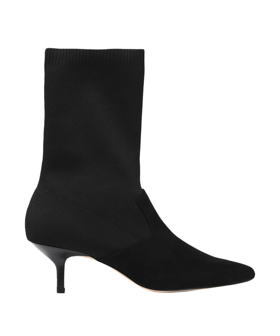 Image for Halston Black Leather Ankle Boots