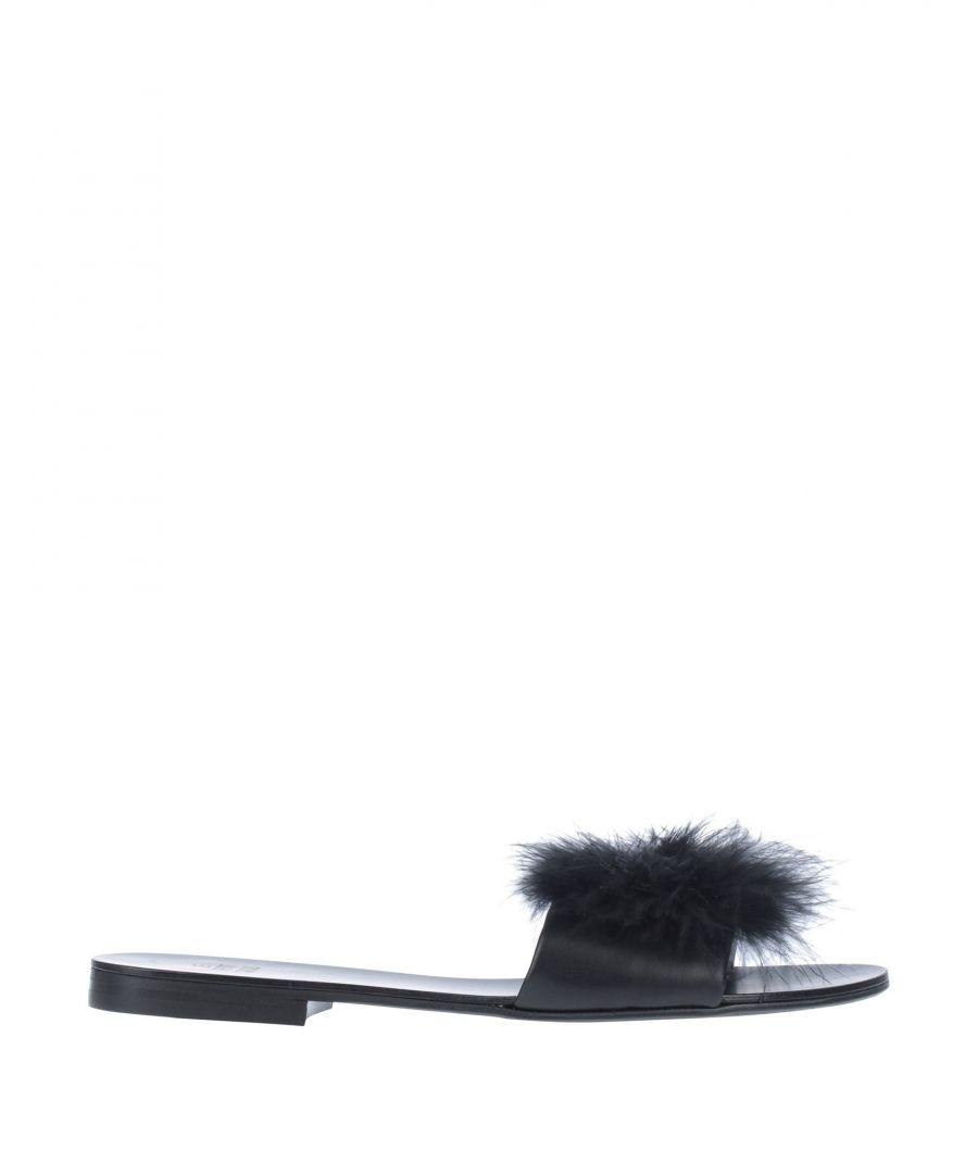 Image for Le Petit Trou Black Leather Sliders