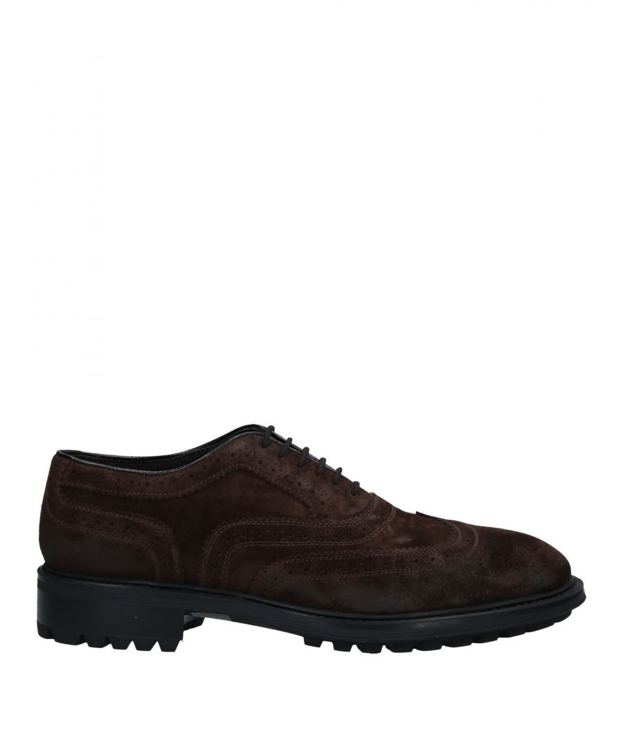 Image for Doucal's Cocoa Leather Lace Up Shoes