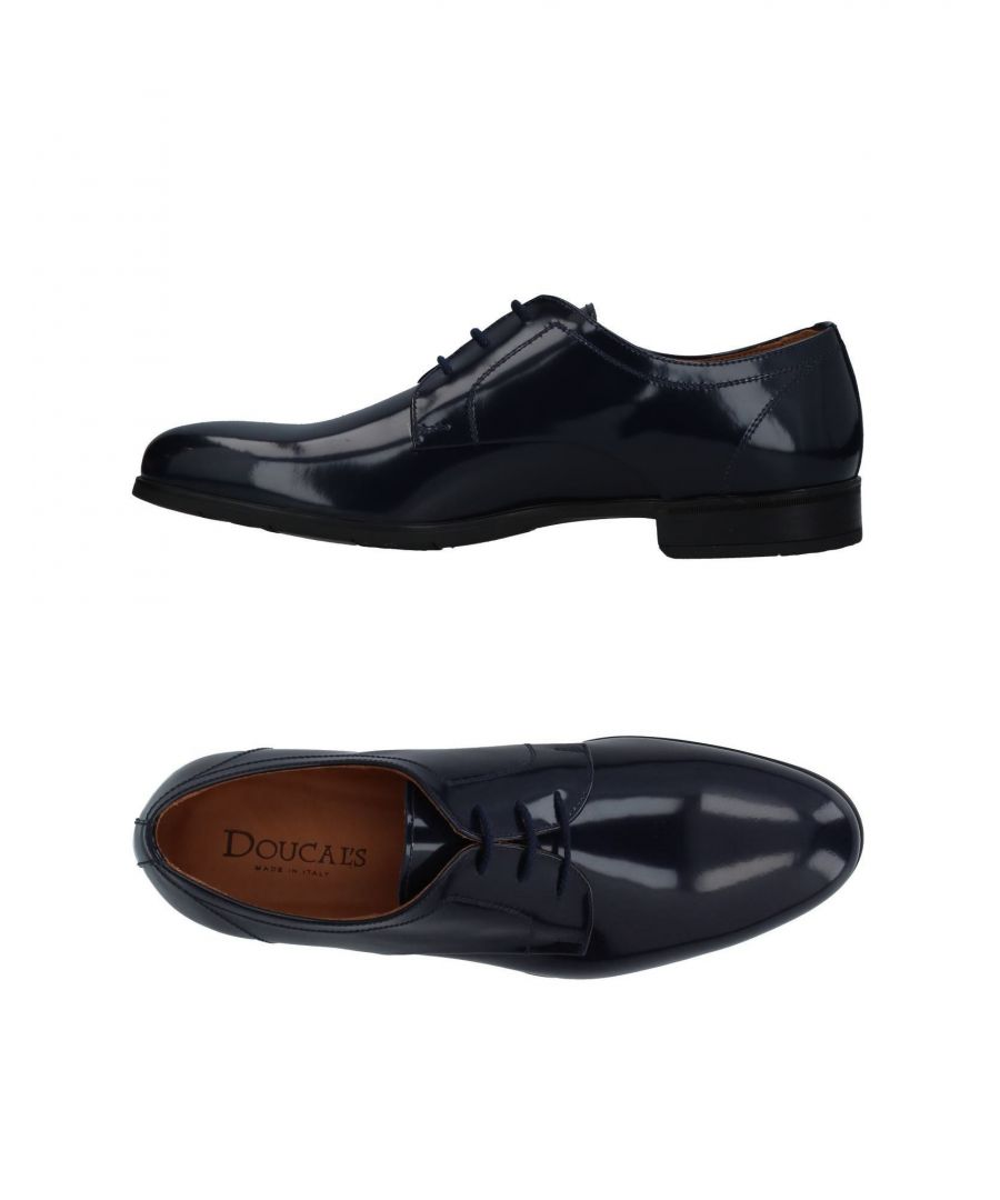 Image for Doucal's Dark Blue Calf Leather Lace Up Shoes