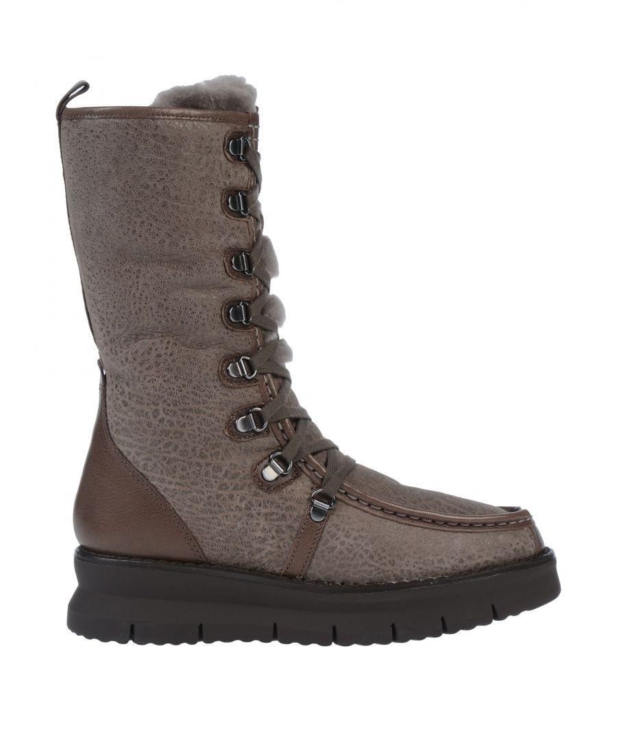 Image for Geox Khaki Leather Lace Up Boots