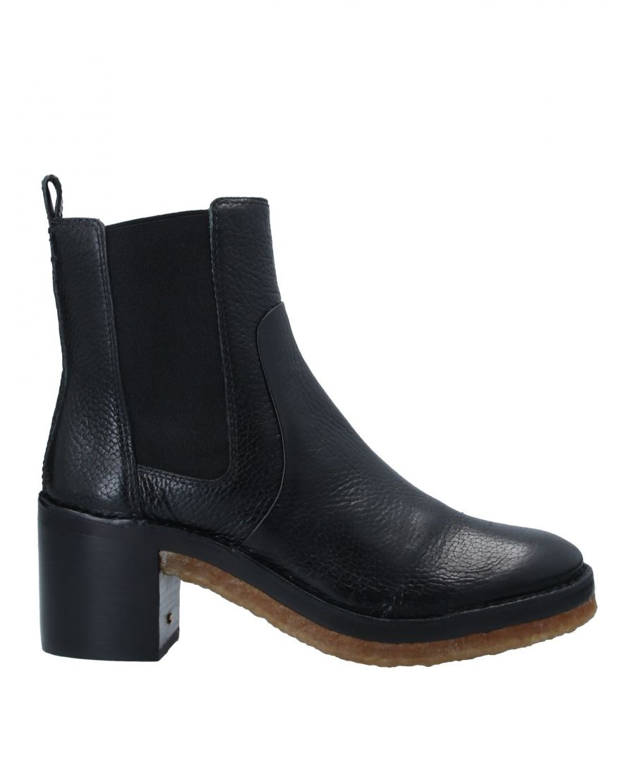 Image for Tory Burch Black Textured Leather Ankle Boots