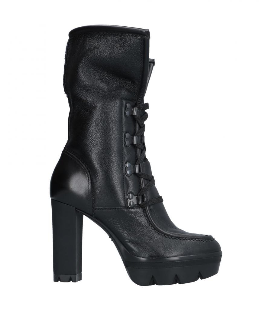 Image for Santoni Black Leather Lace Up Boots