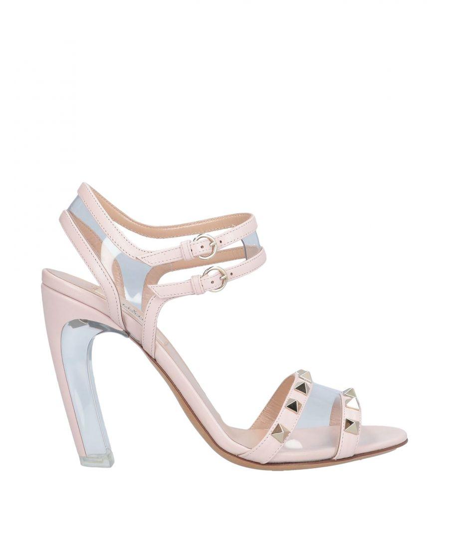 Image for Valentino Garavani Pink Leather Studded Heeled Sandals