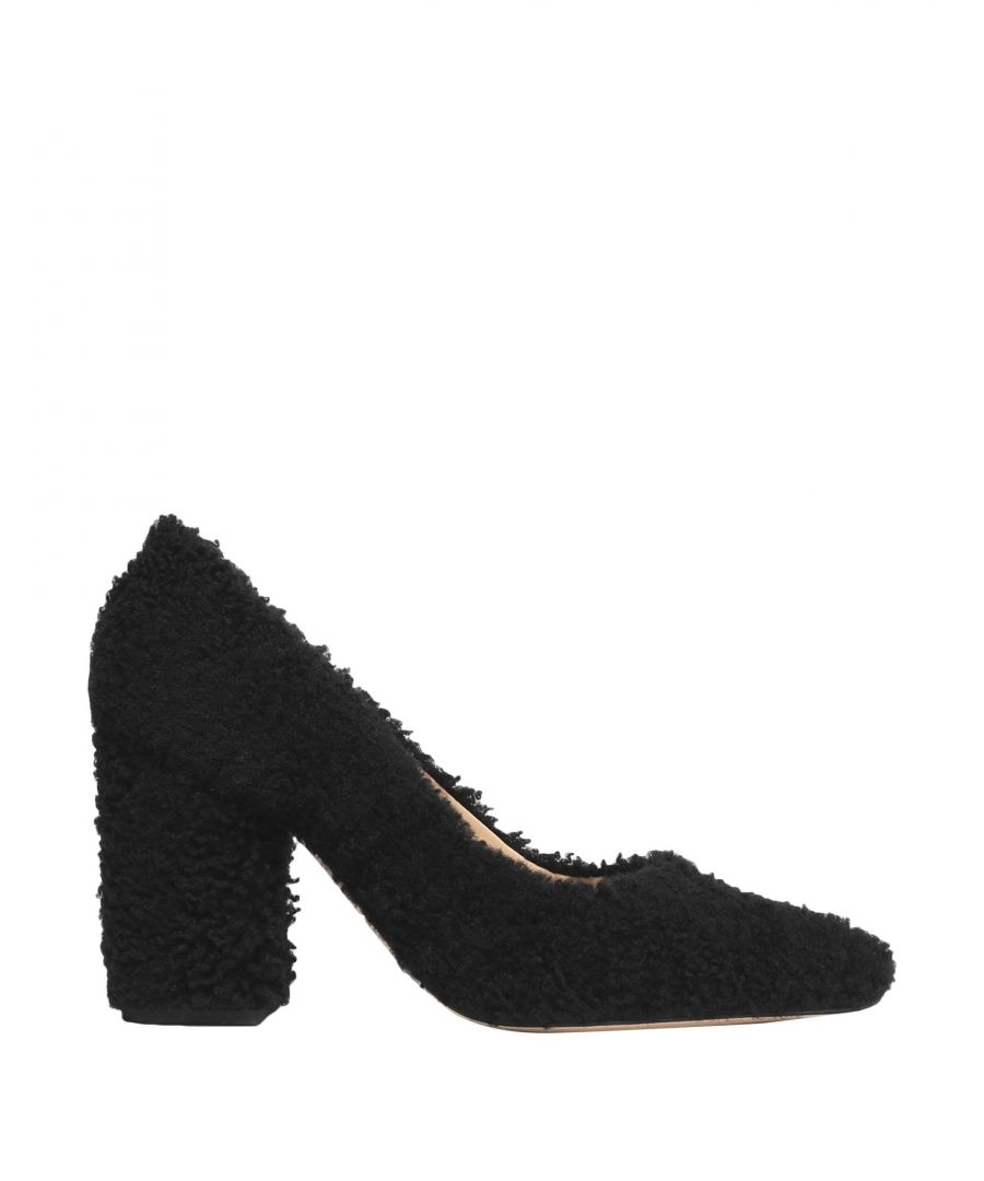 Image for Helmut Lang Black Shearling Court Shoe Heels