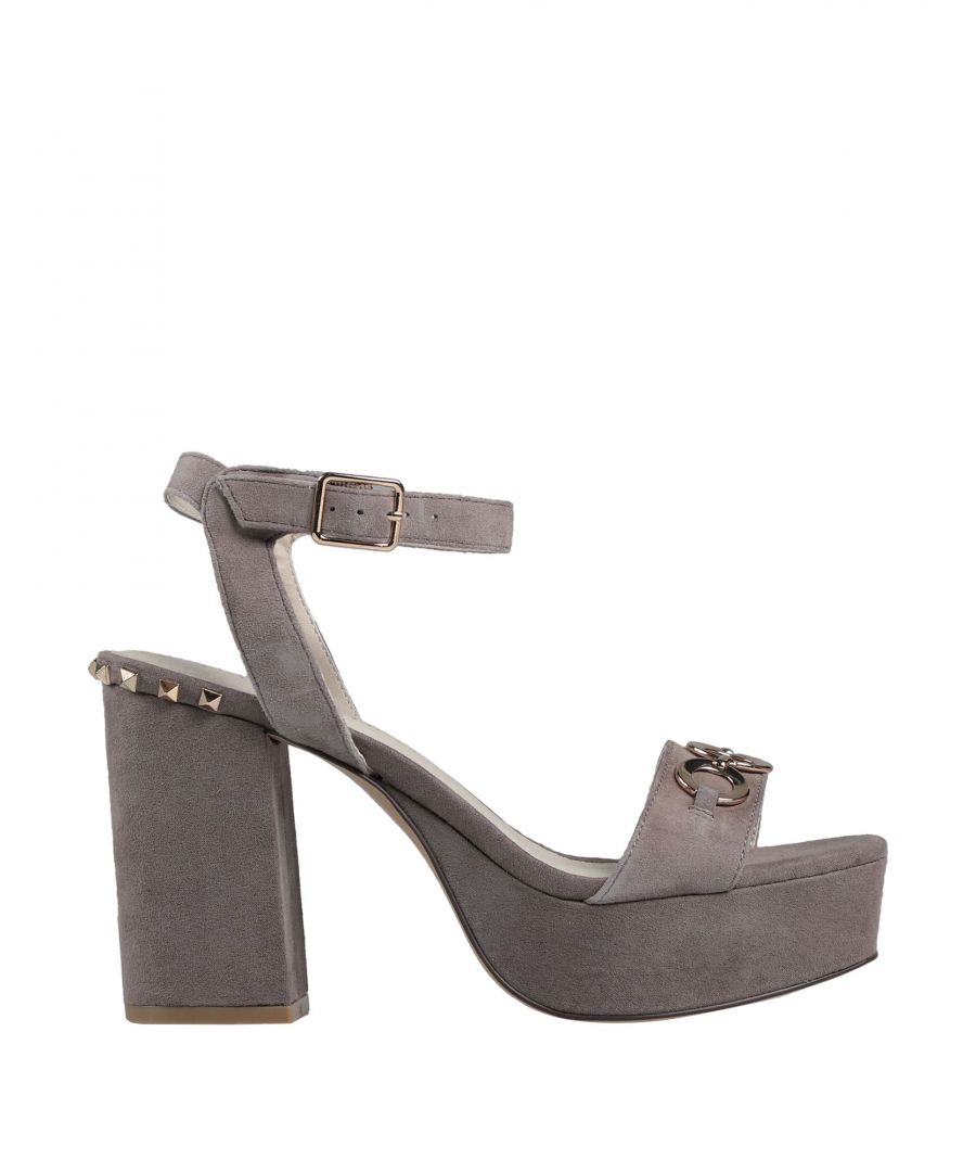 Image for Cafenoir Grey Leather Studded Heeled Sandals