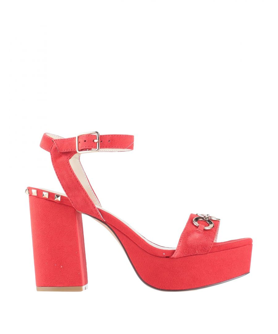Image for Cafenoir Red Leather Studded Heeled Sandals