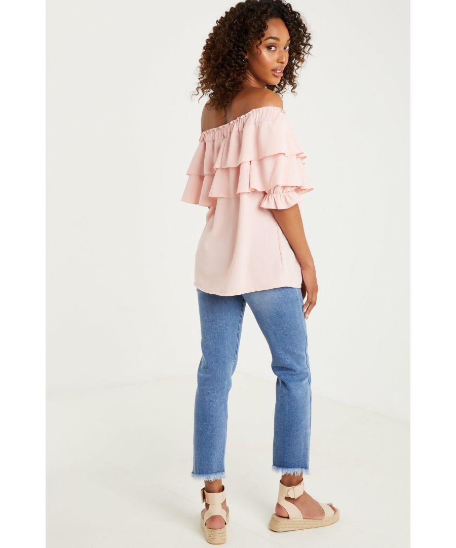 Image for Pink Frill Bardot Top