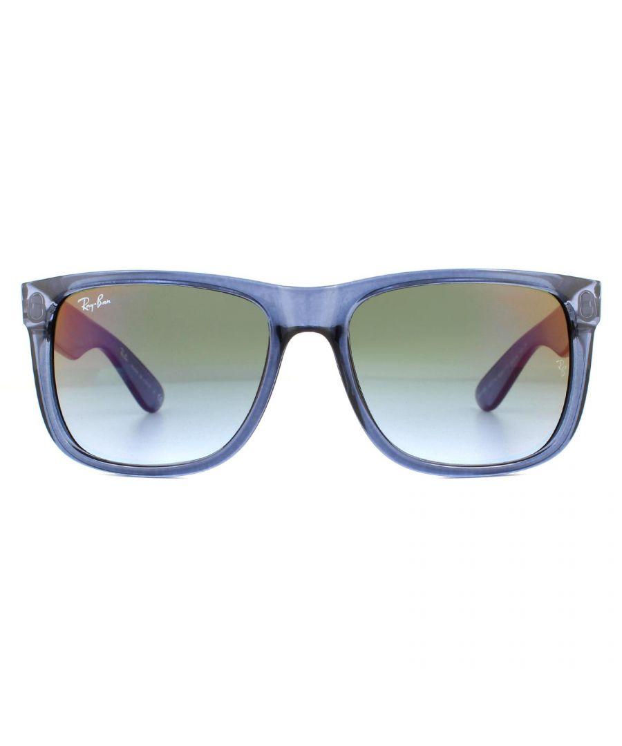 Image for Ray-Ban Sunglasses Justin 4165 6341T0 Transparent Blue  Blue Green Mirror Red Gradient