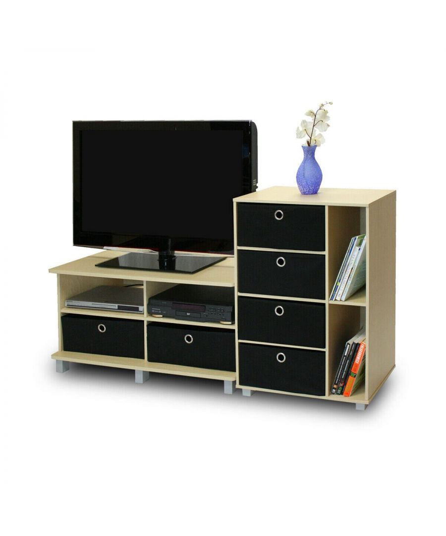 Image for Furinno Andrey Entertainment Center with Bin Drawers - Steam Beech