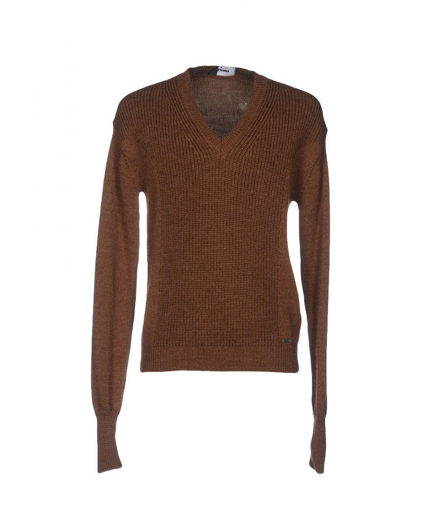 Image for Dsquared2 Khaki Wool Knit V-Neck Jumper