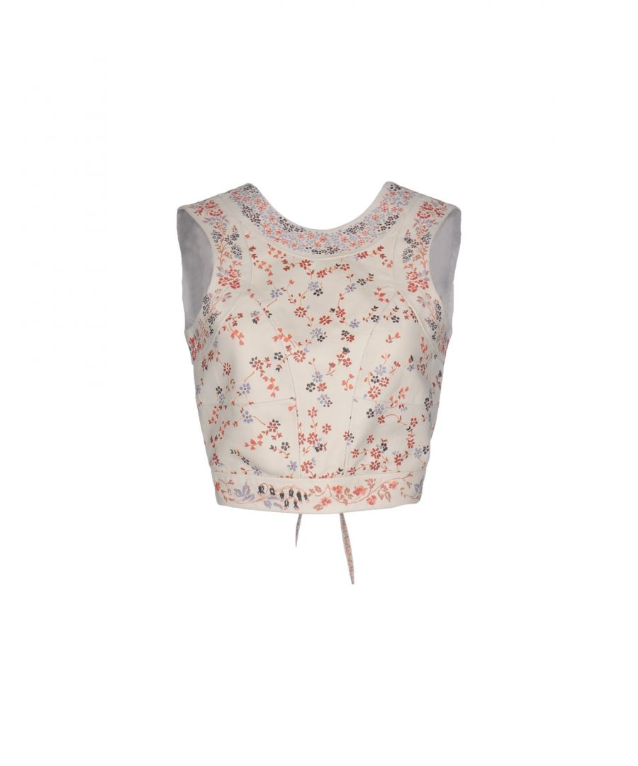 Image for Etro Ivory Floral Design Lambskin Leather Top
